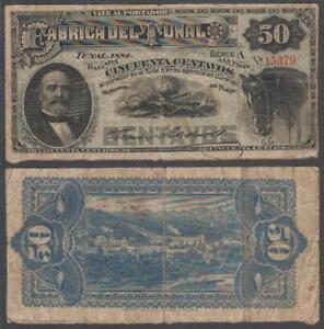 Mexico - La Fabrica Del Tunal, 50 Centavos, 1884, VF+, P-Not Listed, M716(a)
