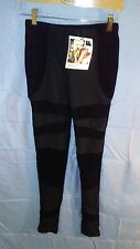 MinkPink Smooth Operator Velvet Panel Leggings Black sz S NWT