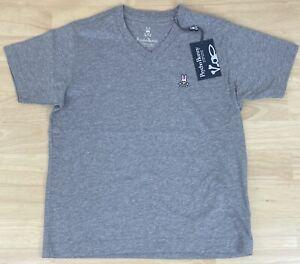 Psycho Bunny Boys Classic Heather Grey V Neck Tee Shirt - Size S/7-8 - NWT $35