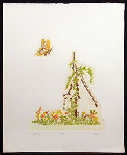 """Lawrence Lerfald """"The Pump"""" Hand Signed ltd ed Fine Art Etching, butterfly, OBO!"""