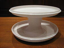 TUPPERWARE 3 pc speckled serve it all pedestal cake/pie stand