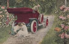 Antique ROMANTIC COMIC POSTCARD c1907-20 Lovers Early Auto Unused 14029