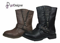 NEW Women's Shoes Boots Military Combat Mid Calf Black Brown PU Leather Sz5.5-10