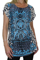 NEW (4035-2) Bling Animal Print Tunic Top Front Diamante Crest Blue 8-16