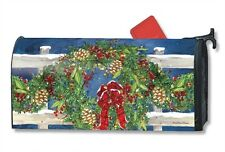 Winter Wreath Mail Box Wrap magnetic holiday bow mailwrap mailbox cover