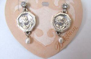 Brighton Devotional Peace Earrings -silver color -cherub dove peace-pearl bead