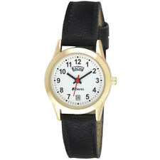 Ladies Day Date Watch, Gold case with black faux leather strap, by Ravel