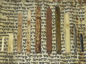 5 old MEZUZAH & mezuzah cases Antique Jewish, Jerusalem Israel 1900