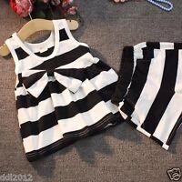 Toddler Kids Baby Girls Summer Clothing Bow Stripes Vest Dress Short Pants Set