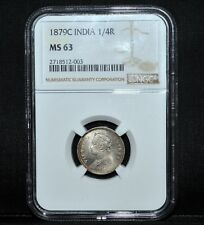 1879-C INDIA 1/4 RUPEE ✪ NGC MS-63 ✪ 1/4R UNCIRCULATED SILVER UNC BU ◢TRUSTED◣