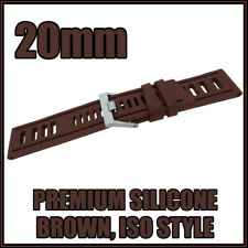 • • 20mm Brown, Diver, ISO Style, Silicone Rubber High Quality Watch Strap • •