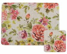 AUTUMN FLORAL Pastel Wild Flowers 4 Placemats and 4 Coasters Set Cork Backed