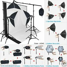 LK345 Linco Photography Studio Lighting Softbox Photo Light Muslin Backdrop Stand Kit 755746524555