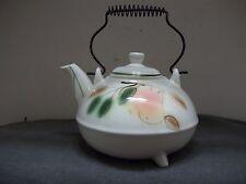 VTG California Pottery Ax 274 USA  3 Toed Teapot Autunm Design Metal Coil Handle