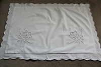 Vintage large white cotton pillow case with white cutwork and scalloped edges.