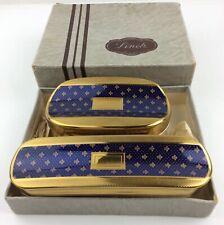 Vintage Linek Gold Tone and Navy Brushes Set - Original Box