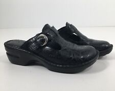 """Boc Born Black Embossed Faux Leather Mules with Buckles Sz 10 M  2"""" heels"""