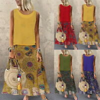 New Summer Women Floral Long Dress O Neck Sleeveless Beach Holiday Vest Dresses