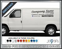 Business Van Signs Company Lettering Vinyl Signs 2 Sides & Back 1 Color