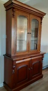 Victorian style mahogany bookcase glazed cupboard with lights
