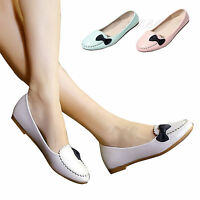 Women Casual Shoes Round Toe Bow Knot Flats Ballet Walking Slip On Oxford