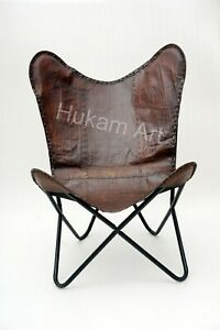 Leather Butterfly Relax Arm Chair Brown Bedroom, Living Room, Home, Office