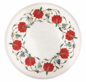 "12"" Marble Table Semi Precious Stone Pietra Dura Art Home Furniture Gifts"