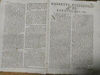 1802 GAZZETTA UNIVERSALE: GENERALE RIBELLE TOUISSANT; GUADALUPE; TURCHIA; GAETA