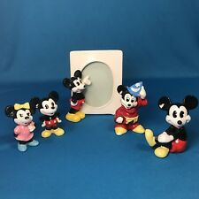 New Mickey Mouse Porcelain Picture Frame w/ Mickey/Minnie figurines JAPAN