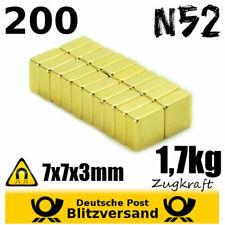200x Neodym Magnet Quader 7x7x3 N52 vergoldet