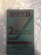 Bond Clothes Chicago Antique Collectible Advertising Notepad 1936 1937