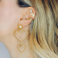 Fashion Women Weave Heart Earrings Drop Dangle Stud Earring Jewelry Gift