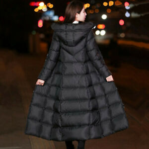 Women Long Puffer Coat Jacket Hooded Padded Quilted Outerwear Winter Warmer