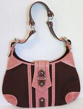 ISABELLA FIORE Pink Burg Leather Silver Tone Hardware Handbag Shoulder Bag EUC!!