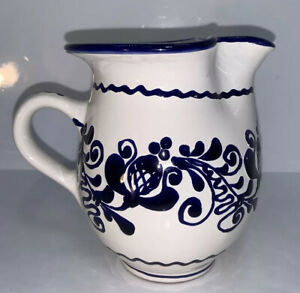 """Vintage Antique Blue & White Clay Pitcher Redware Hungary Folkware 5 1/4"""""""