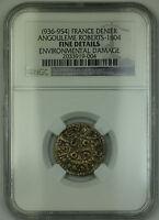 (936-954) France Angouleme Silver Denier Coin Roberts-1804 NGC Fine Details AKR
