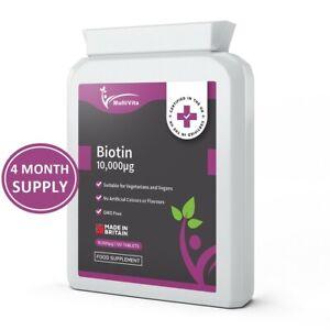 BIOTIN 10000mcg MAX STRENGTH 120 High Dose Vegan Tablets D-Biotin Vitamin B7 UK