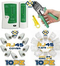 KIT CON CRIMPATRICE TESTER DI RETE PIU' PLUG COVER RJ45 RJ12 RJ11 CAT7 CAT6 CAT5