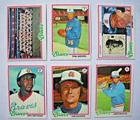 1978 Topps Atlanta Braves Complete Team Set (26 Cards) NMMT