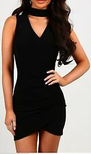 New Womens Choker V Neck Cross Wrap Over Evening Short Mini Bodycon Party Dress