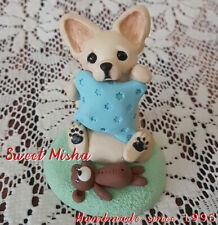CHIHUAHUA DOG FIGURINE HANDMADE BEAR CHI PUPPY PAINTED SCULPTURE ORIGINAL OOAK