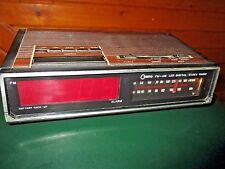 AS IS Vintage COSMO AM/FM Clock Radio Plug Faux Wood ALARM & BATTERY DO NOT WORK