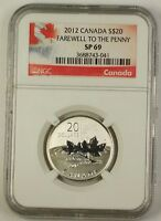 2012 Canada Silver $20 Coin Farewell to the Penny NGC SP-69 Special Red Holder