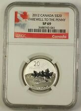 "2012 Canada Silver $20 Coin ""Farewell to the Penny"" NGC SP-69 Special Red Holder"