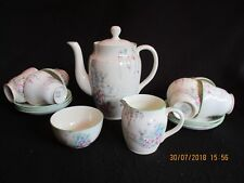 ART DECO FOLEY CHINA (Brains) 15pce COFFEE SET #5251 HAND-PAINTED GARDEN c.30's