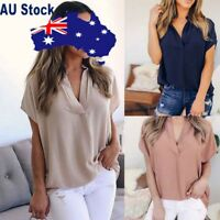 Women Lady Summer Chiffon Short Sleeve V Neck Casual Loose Tops Blouse T-Shirt