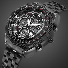 INFANTRY Mens Digital Quartz Wrist Watch Sport Chronograph Black Stainless Steel