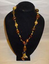 Vintage Amber Glass/Stone & Carved Plastic Bead Fashion Necklace- FN0003