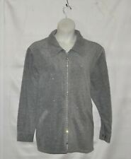Quacker Factory Sparkle & Shine Fleece Jacket Size 1X Grey