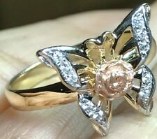 GOLD 14k BuTtErFlY Ring tri yellow Rose White simulated Diamond 7 5 6 8 9  3.4g